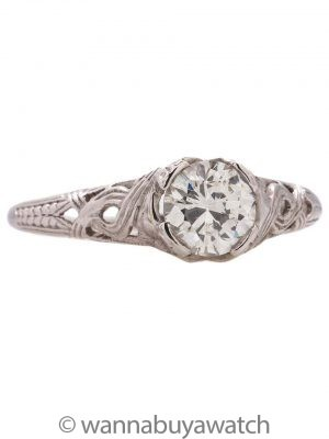 Vintage Engagement 18K WG Engagement Ring 0.72ct OEC H-VS1 circa 1920s