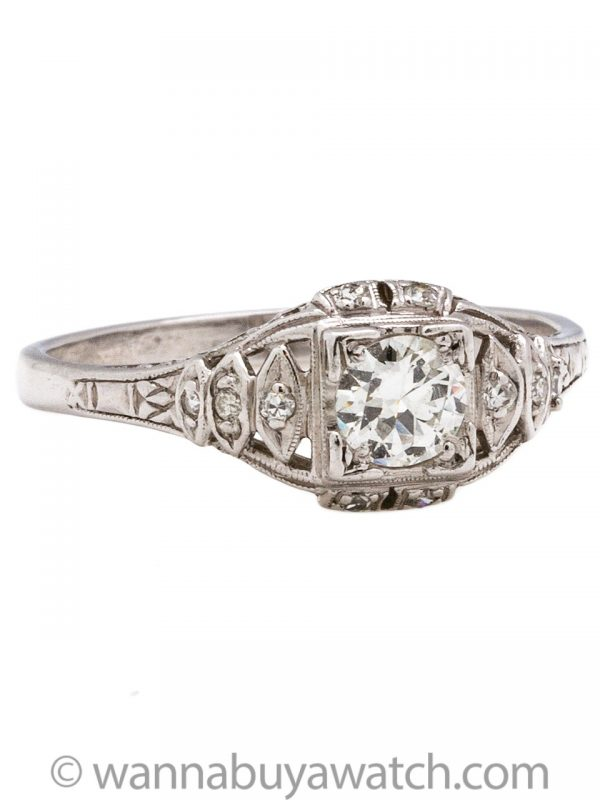 Vintage Engagement Ring 18K WG 0.45ct OEC I-SI1 circa 1930s