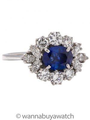 Vintage 18K WG Natural Blue Sapphire and Diamond Ring circa 1960s