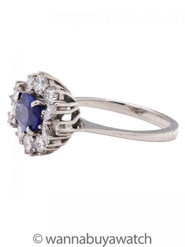 Vintage 18K WG Natural Blue Sapphire and Diamond Ring circa 1960s