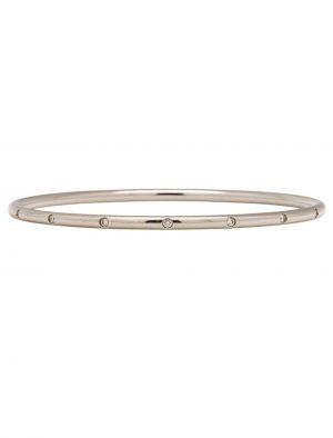 Tiffany & Co. Bezet 18K White Gold Diamond Bangle Bracelet circa 2000s