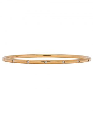 Tiffany & Co. Bezet 18K Rose Gold Diamond Bangle Bracelet circa 2000s