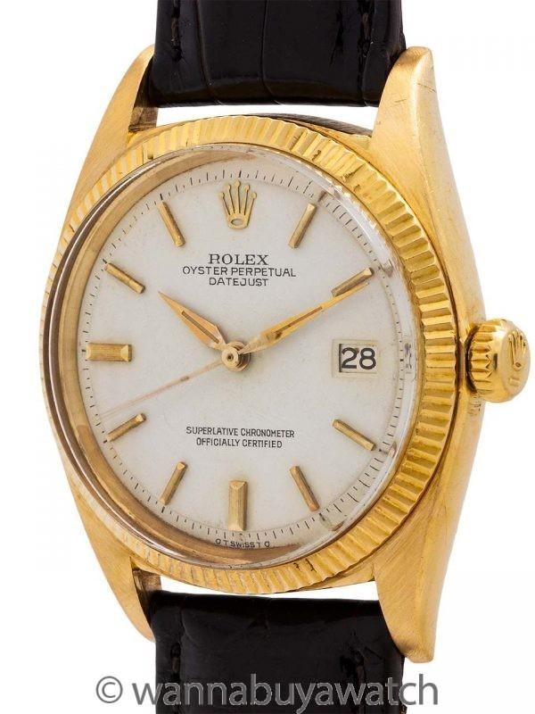 Rolex Datejust ref 1601 18K YG Scarce White Dial circa 1960