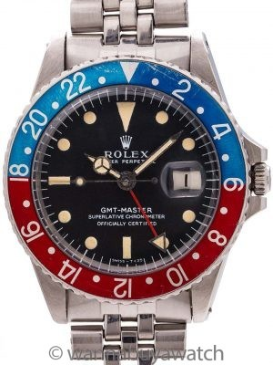 Rolex Pepsi GMT ref# 1675 circa 1968 Full Set & Chronometer Certificate