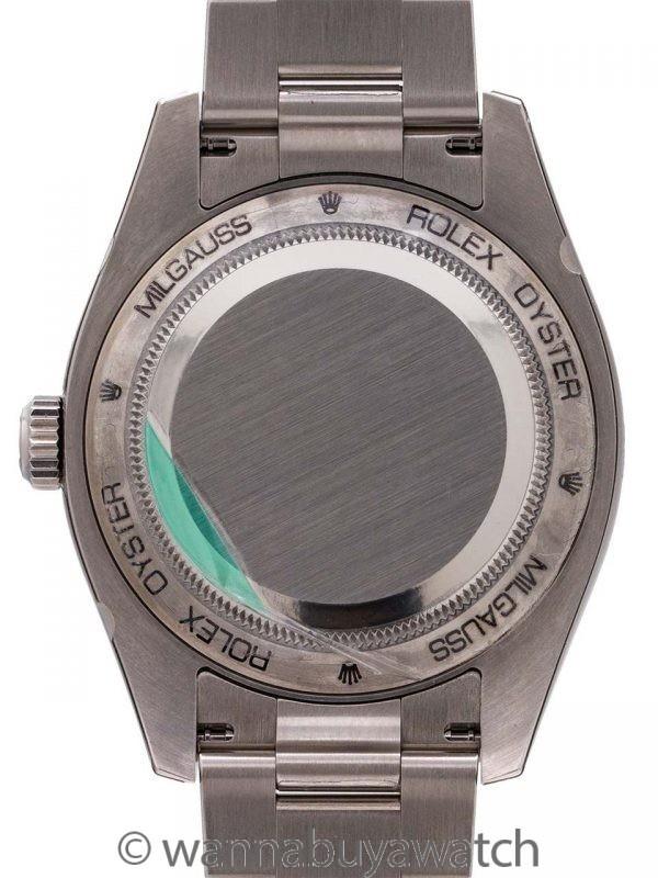 Rolex SS Milgauss ref # 116400 GV Green Crystal 2009 w/ Card