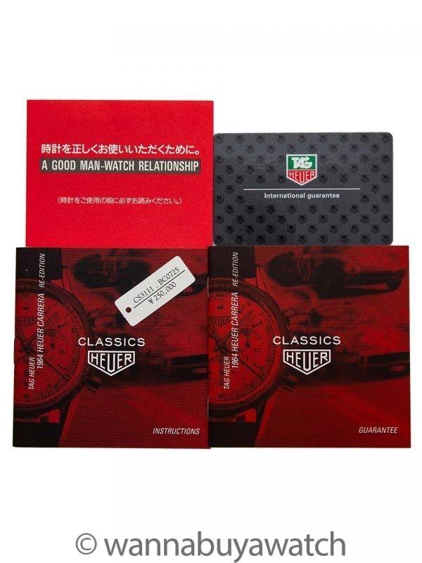 Heuer Carrera Classic 1964 Reissue Black Dial circa 1999 NOS w/ B & P