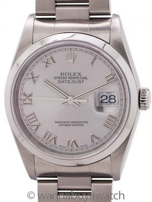 Rolex Stainless Steel Datejust ref 16200 Roman Rhodium circa 2004