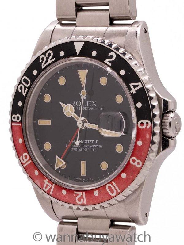 """Rolex GMT II ref 16710 """"Coke"""" Patina'd Tritium Lume circa 1991"""