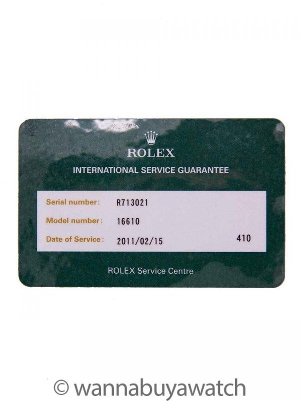 Rolex Submariner ref# 16610 Tropical Tritium circa 1988 Service Card
