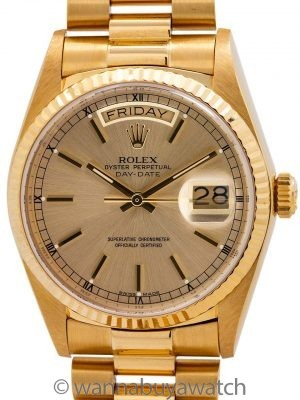 Rolex ref 18038 Day Date President 18K YG circa 1985 w/ Papers