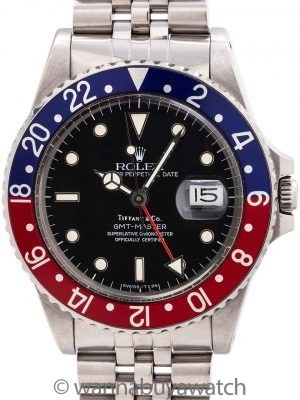 Rolex GMT ref 16750 Tiffany & Co Spider Dial circa 1985