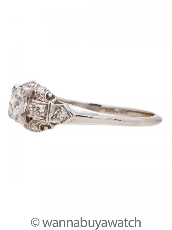 Engagement Ring 18K White Gold 0.46ct OEC H-VS2 circa 1930s