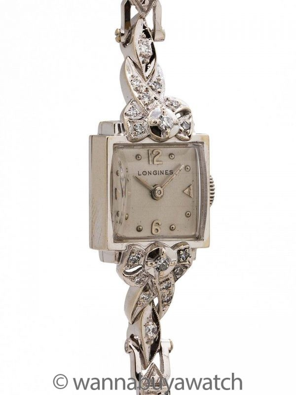 Longines 14K White Gold & Diamond Set Cocktail Watch circa 1951