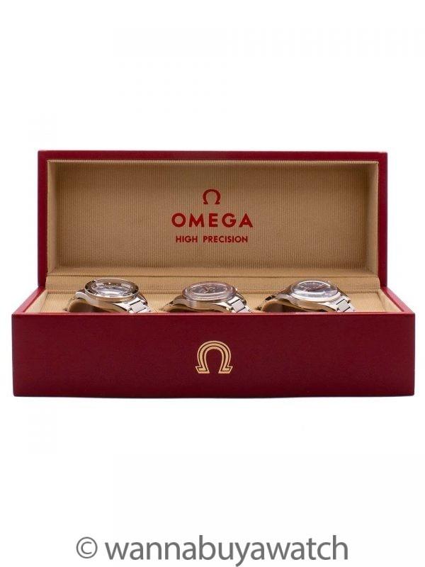 Omega 1957 Trilogy Set, Speedmaster, Seamaster, & Railmaster BRAND NEW UNWORN 2017 B & P
