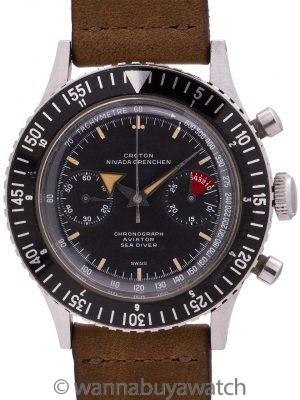 "Croton ""Chronomaster Aviator Sea Diver"" Chronograph circa 1950's Minty!"