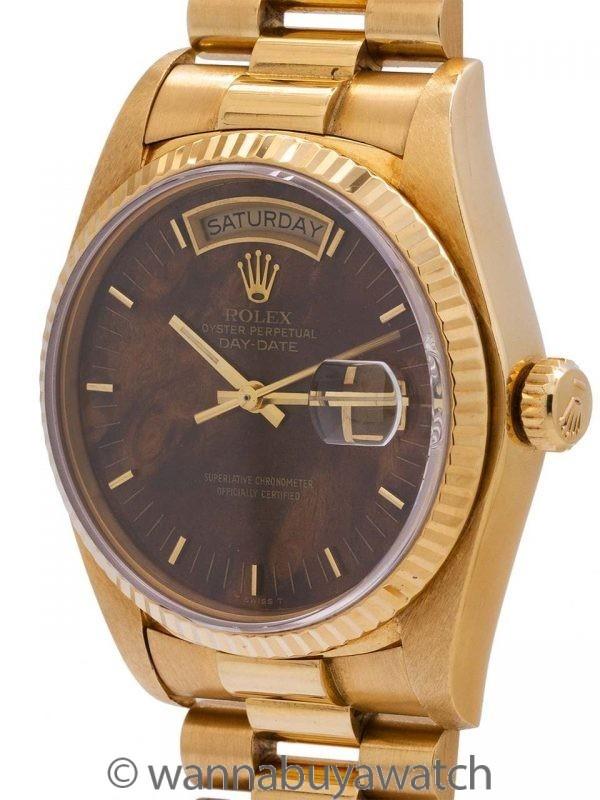 Rolex ref 18038 Day Date President 18K YG circa 1982 Walnut Burlwood Dial