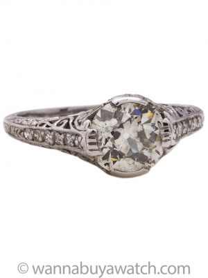 Vintage Engagement Ring Platinum 1.59ct Old European Cut Diamond J-SI1 circa 1920's