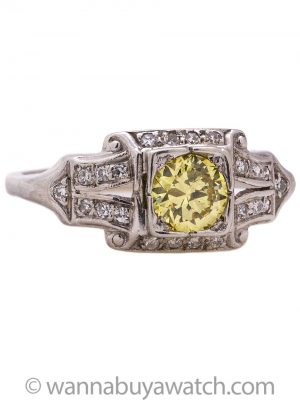 Vintage Engagement Ring 18K WG 0.55ct Intense Fancy Yellow-VS2 Transitional Cut c. 1930s
