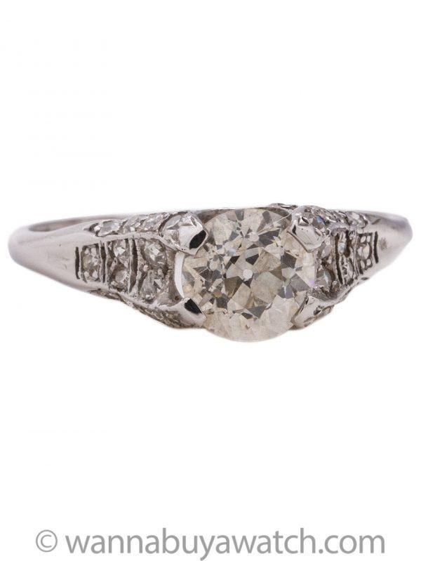 Vintage Platinum Engagement Ring 0.99 OEC Diamond H VS-1 circa 1930's