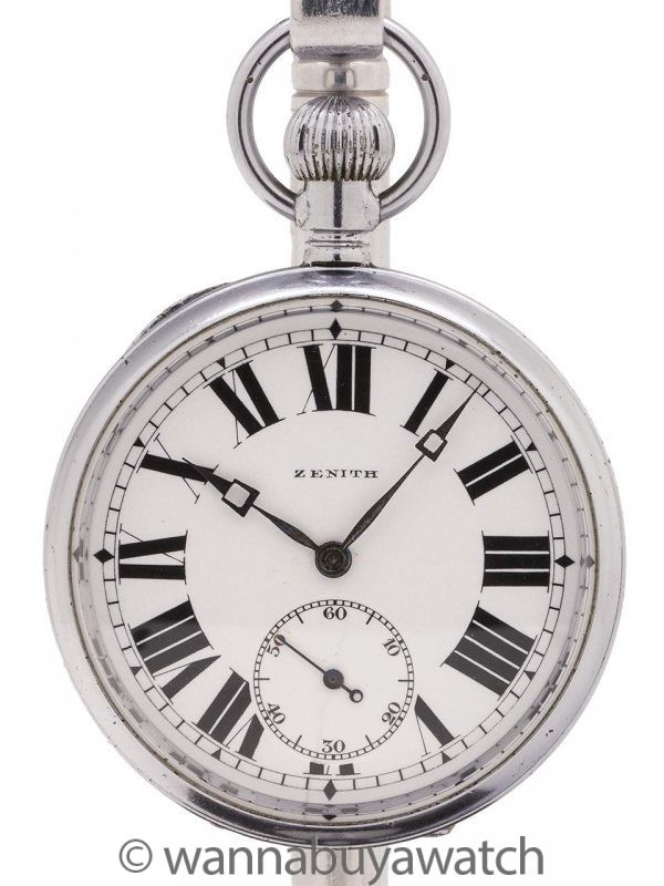 Zenith Enamel Dial Pocket Watch circa 1924