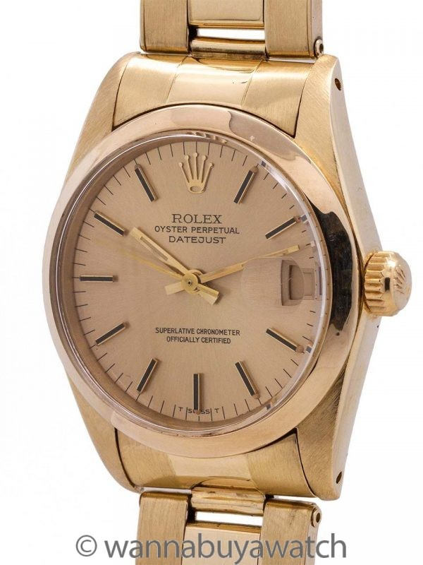 Rolex Midsize Datejust ref 6827 18K YG circa 1981