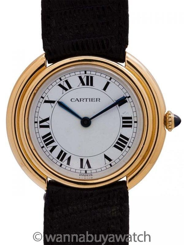 Cartier Mens Vendome Tank 18K with 18K Deployant Clasp circa 1970's