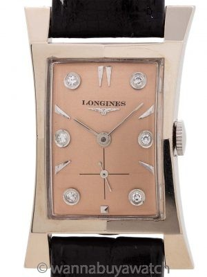 Longines 14K WG Elongated Hourglass circa 1950s