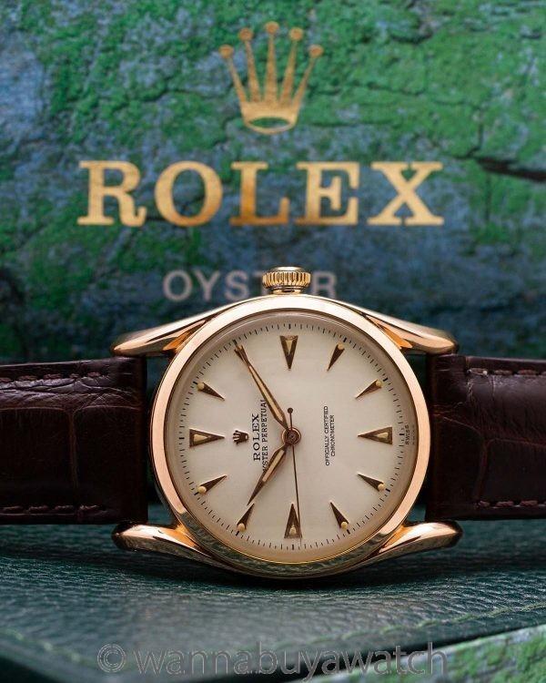 Rolex 18K Rose Gold Bombe ref 6090 circa 1950's