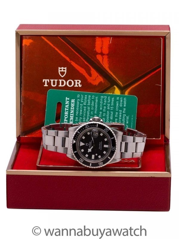 "Tudor Black ""Snowflake"" Submariner w/ Date ref# 94100 w/ Box & Papers circa 1980"