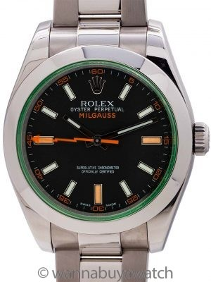 Rolex SS Milgauss ref# 116400GV Green Crystal 2016 Box & Card +