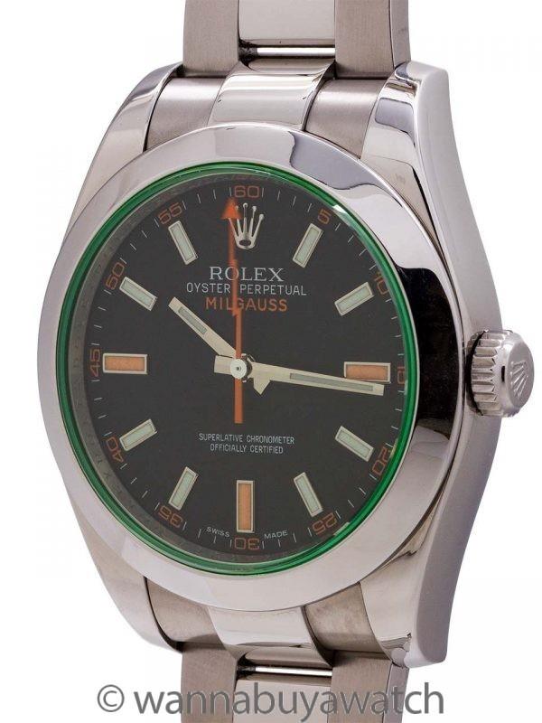 Rolex SS Milgauss ref# 116400GV Green Crystal 2014 w/ Card