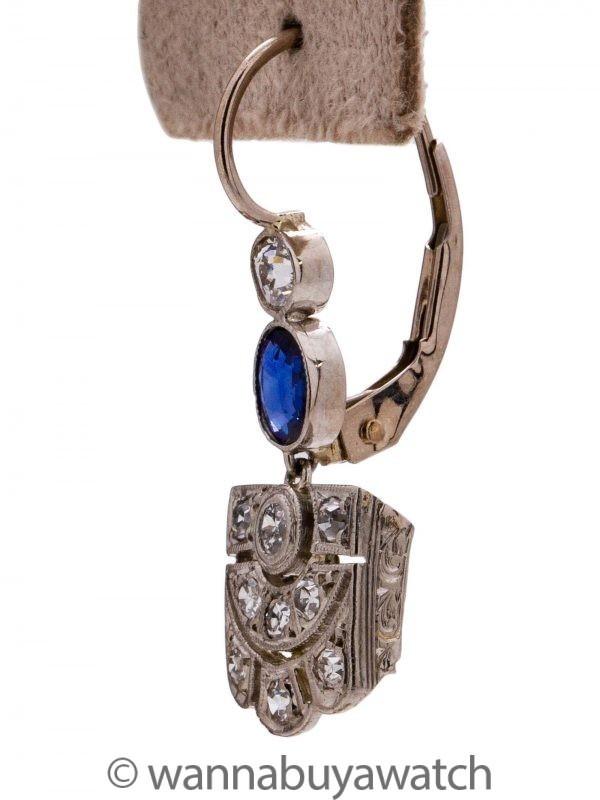 Vintage Art Deco Platinum & WG Diamond Sapphire Dangle Earrings 0.60ct