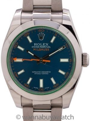 Rolex SS Milgauss ref # 116400 GV Blue Dial Green Crystal 2016 B & P