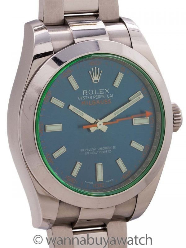 Rolex SS Milgauss ref # 116400 GV Blue Dial Green Crystal 2014 with Card