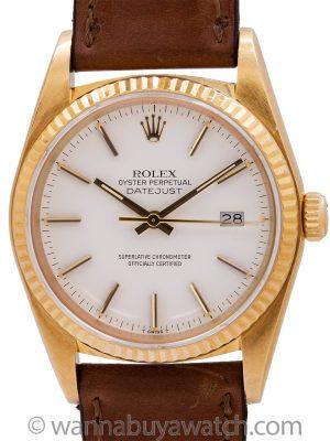 """Rolex Datejust ref 16018 18K YG """"Snow White"""" circa 1984"""