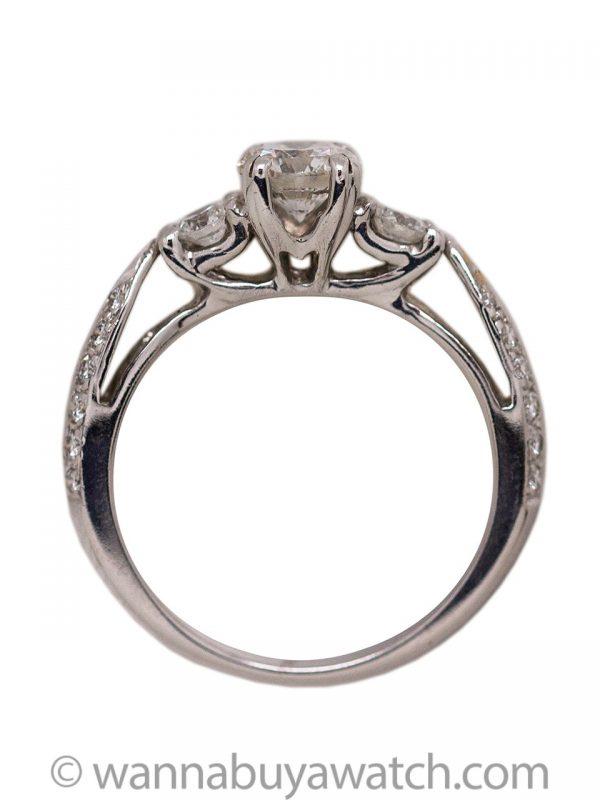 Modern 18KW Engagement Ring Echo Cut Round Brilliant Cut Diamond 0.71ct I-SI1