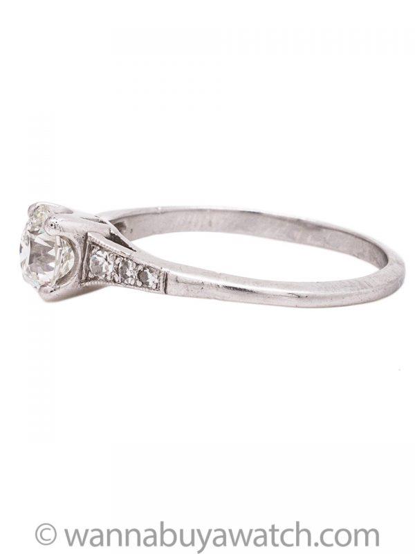 Vintage Engagement Ring Platinum 0.65ct Transitional Cut H-VS1 circa 1930s