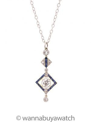 Vintage Art Deco Platinum & 18K WG OEC Diamond Sapphire Necklace 1.20ct circa 1920s