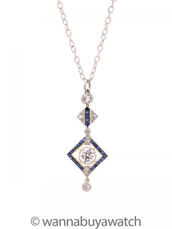 Vintage Art Deco Platinum & 18K WG OEC Diamond Sapphire Necklace 1.20ct circa 1920s