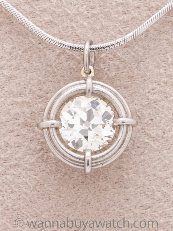 Diamond Solitaire Platinum Pendant 1.41ct OEC J-VS2