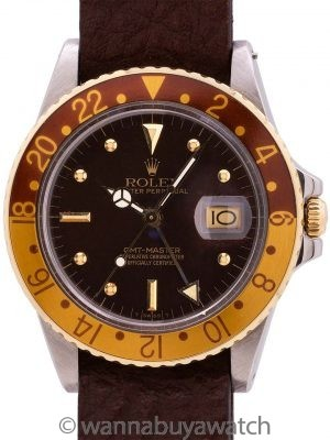 Rolex GMT ref 16753 SS/18K YG Rootbeer circa 1979
