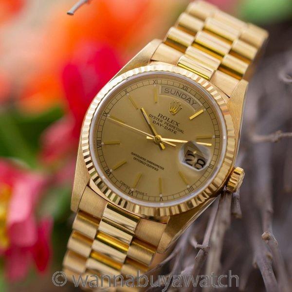 Rolex 18K YG ref 18038 Day Date circa 1987 MINT!