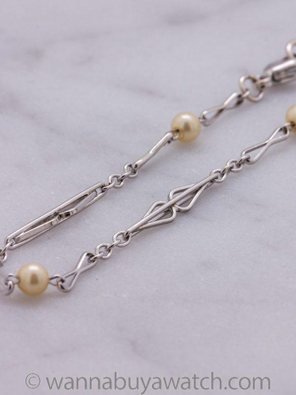 Antique 14K White Gold & Pearl Chain Bracelet circa 1920s