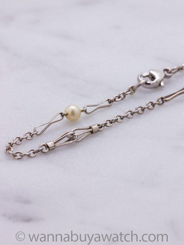 Antique 14K White Gold & Pearl Chain Bracelet circa 1920s