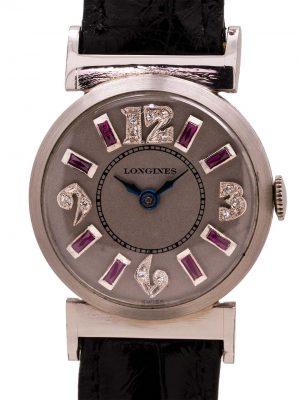 Longines Platinum Diamond & Ruby Set Watch circa 1940's