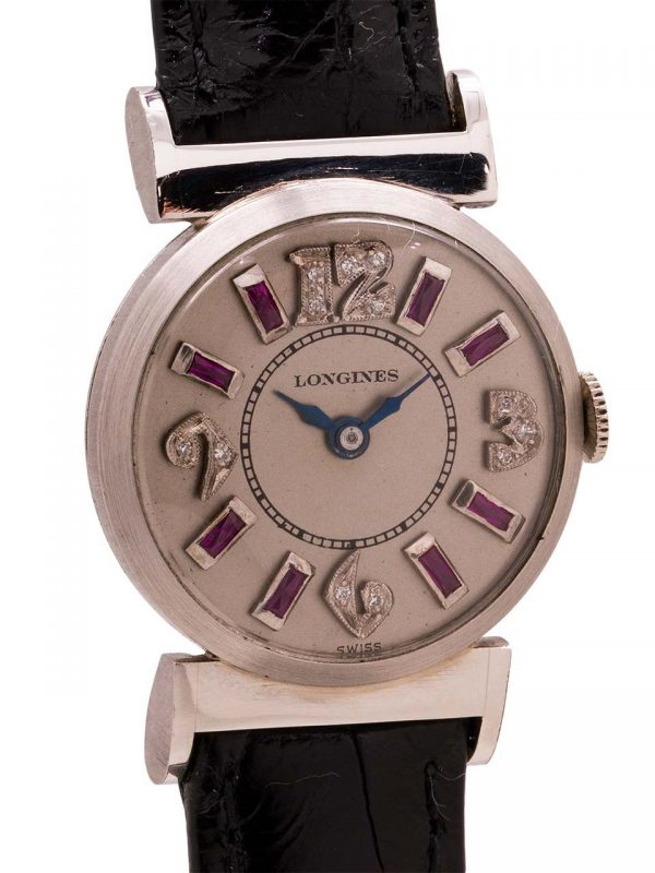 Longines Platinum Diamond & Ruby Set Watch circa 1940's