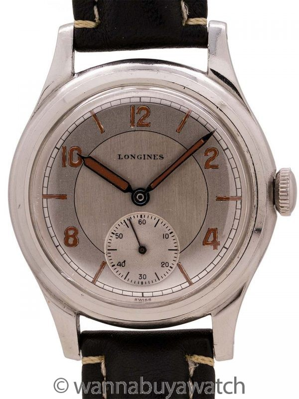 Longines Oversize Stainless Steel Sector Dial circa 1940's