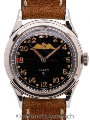 Elgin AOPA 24 Hour Stainless Steel circa 1950's RARE