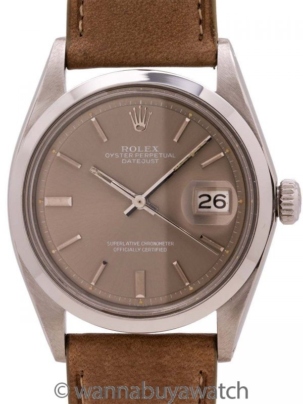 Rolex Datejust ref 1600 Smooth Bezel Grey Dial circa 1971
