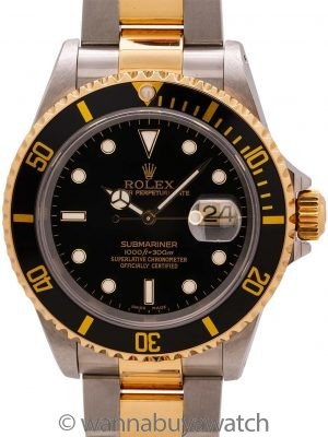Rolex SS/18K YG Submariner ref 16613 Box & Service Paper (gold through clasp) circa 2000